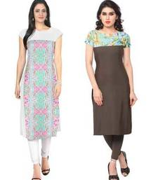 Buy White and brown faux crepe printed stitched kurti long-kurti online