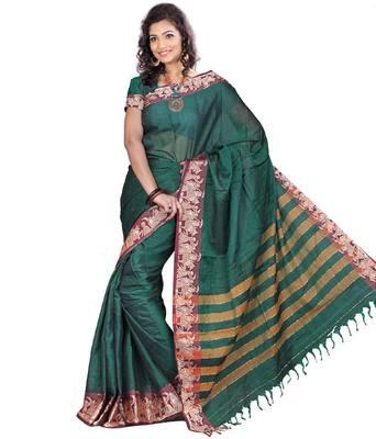 Kalazone Green  Printe  Geometric Print Cotton Saree S8320/BG8