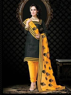 Kalazon Black,Yellow Chanderi Silk Salwar Kameez D8240/S3