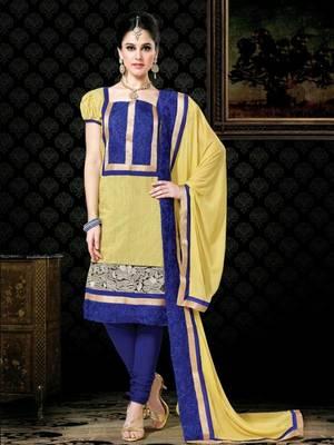 Kalazone Blue,Yellow Chanderi Silk Salwar Kameez D8243/S3