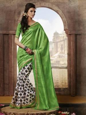 Light Green Bhagalpuri saree