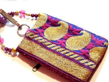 Pink n blue mobile bag