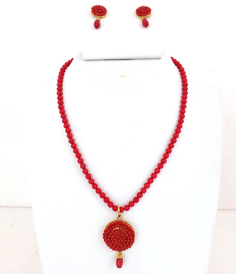 Round Coral Pendent Set