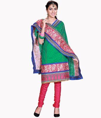 Kalazone Red,Green Embroidery Cotton Salwar Kameez :D7131/S8
