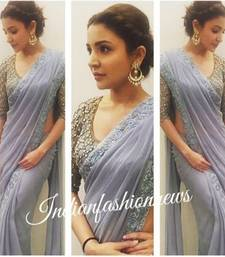 Buy grey embroidered georgette saree With Blouse anushka-sharma-saree online