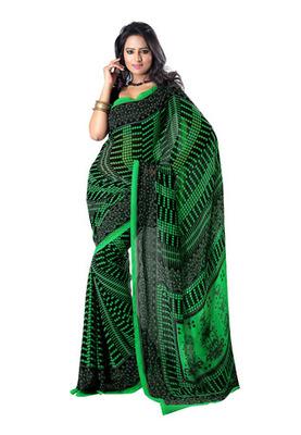 Fabdeal Green & Black Colored Faux Georgette Saree