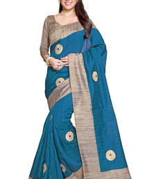 Buy turquoise printed bhagalpuri silk saree With Blouse bhagalpuri-silk-saree online
