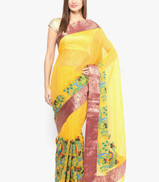 Buy golden woven super net saree With Blouse supernet-saree online