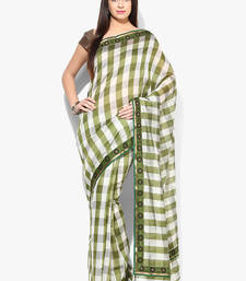 Buy green woven blended cotton saree With Blouse cotton-saree online