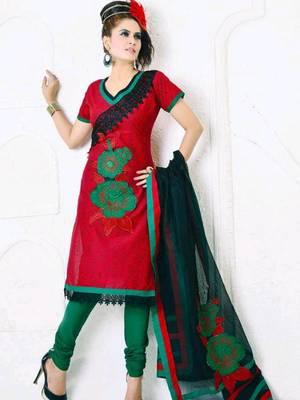Kalazone Red Cotton Embroidery Salwaar Kameez: WD20309