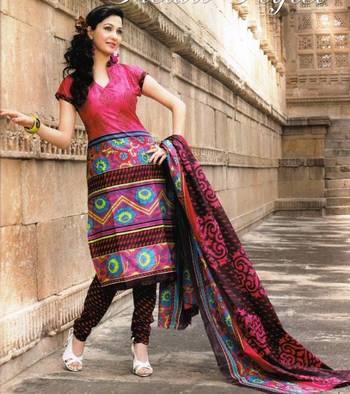 Dazzling  Maroon Printed Cotton Dress Material D.No PB11016