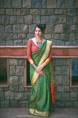Green Jacquard Weaving Premium Patola Saree With Contrast Blouse