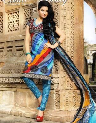 Trendy Multicolor Printed Cotton Dress Material D.No PB11027