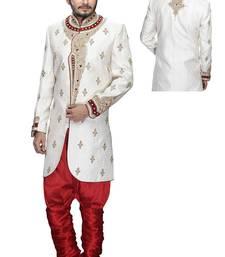 Buy white silk stone sherwani jodhpuri-sherwani online