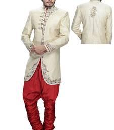 Buy beige silk stone sherwani jodhpuri-sherwani online