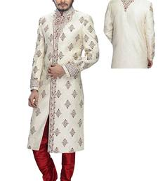 Buy White dupion silk wedding sherwani wedding-sherwani online