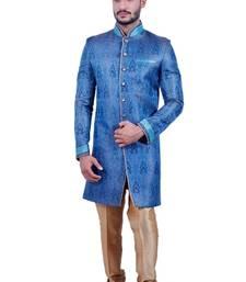 Buy electric blue brocade printed indo western dresses indo-western-dress online