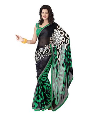 Black & Green Colored Satin Chiffon Saree
