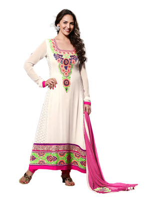 White & Pink Colored Pure Georgette Salwar Kameez Semi-Stitched Salwar Suit