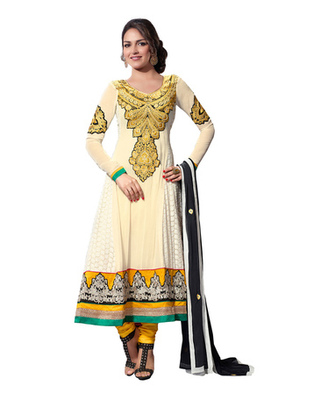 White & Yellow Colored Pure Georgette Salwar Kameez Semi-Stitched Salwar Suit