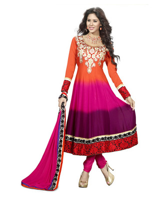 Orange & Pink Colored Faux Georgette Semi-Stitched Salwar Suit