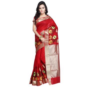 red hand woven kanchipuram silk saree With Blouse