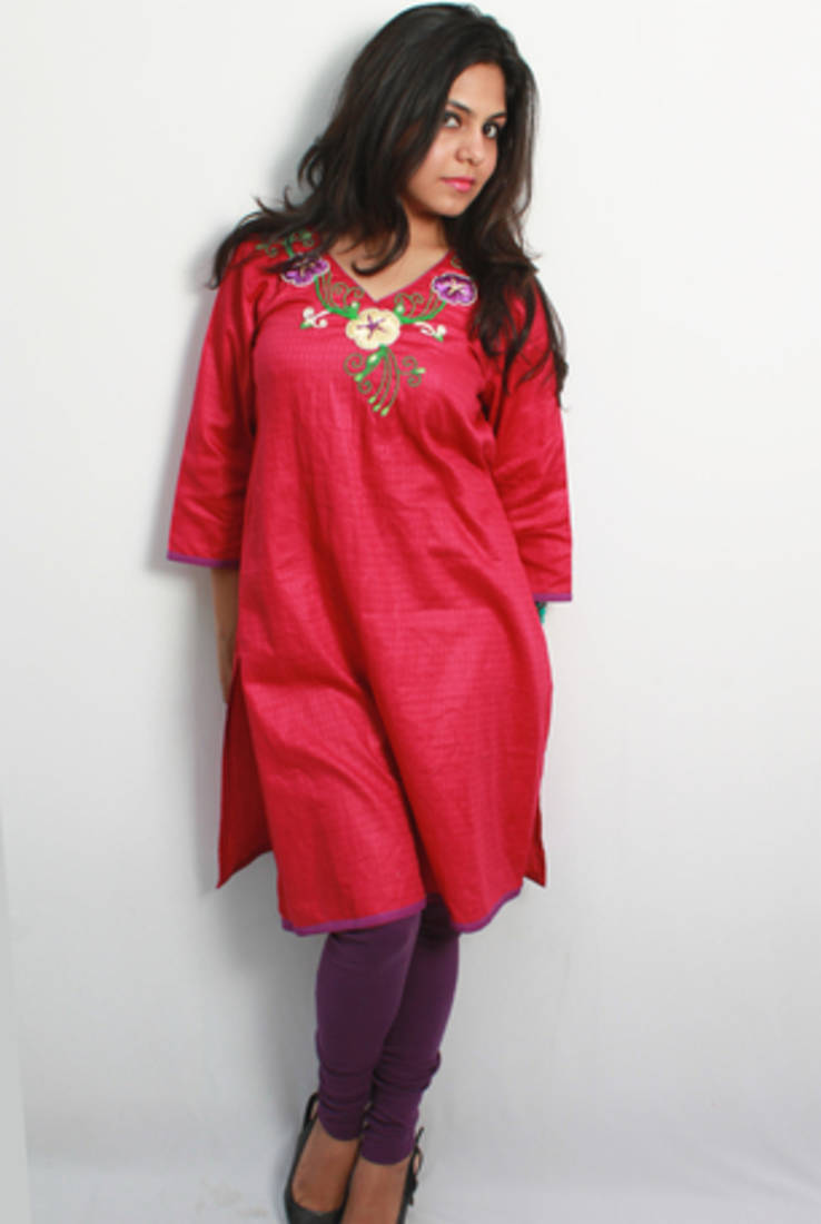 Buy pink purple ribbon and sequins embroidered kurti online