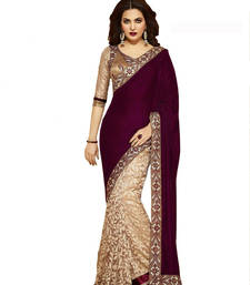 Buy maroon embroidered brasso saree With Blouse gifts-for-wife online
