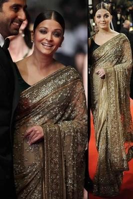 Fabulous Net-Tessar Silk chiku Saree with Unstitched Inner/ Petticoat Blouse