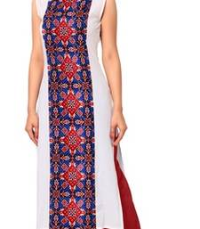 Buy White printed faux crepe stitched kurti kurtas-and-kurtis online