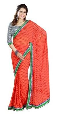Triveni Beautiful Orange Color Casual Printed Indian Ethnic Designer Trendy Sari