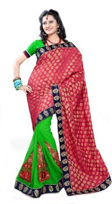 Triveni Fashionable Embroidered Green Colored Indian Designer Exquisite Saree