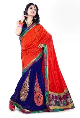 Triveni Fashionable Embroidered Blue Colored Indian Designer Exquisite Saree