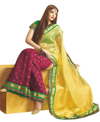 Triveni Fabulous Magenta Colored Party Wear Indian Traditional Border Work Saree