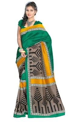 Triveni Stylish Sober Wear Indian Traditional Printed Art Silk Green Saree