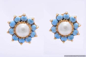 BEAUTIFUL DAILY WEAR STONE STUDDED SUN TOPS/EARRINGS/STUDS (PEARL TURQUOISE) - PCE1045