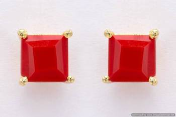 ELEGANT SINGLE STONE STUDDED SQUARE TOPS/STUDS/EARRINGS (CORAL) - PCE1080