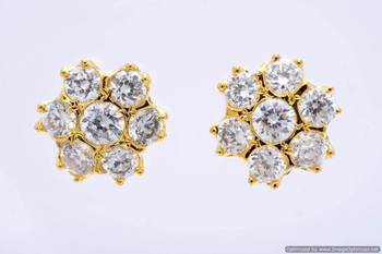 7 STONE STUDDED FLOWER SHAPED TOPS/STUDS/EARRINGS (AD) - PCE1106