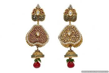 ANTIQUE GOLDEN STONE STUDDED REVERSABLE 2 WAY USE EARRINGS/HANGINGS (RED GREEN)  - PCAE2067