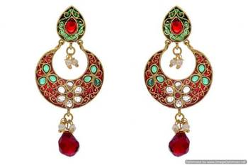 ANTIQUE GOLDEN STONE STUDDED FLOWER STYLE CHAAND BAALI EARRINGS/HANGINGS (RED GREEN)  - PCAE2213