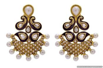 ANTIQUE GOLDEN STONE STUDDED MEENA WORK PEARL EARRINGS/HANGINGS (SAPPHIRE)  - PCAE2226