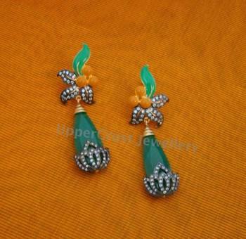 Black Rhodium Green N Yellow CZ Earrings
