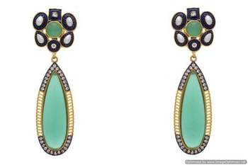 AD STONE STUDDED FLOWER SHAPED EARRINGS/HANGINGS (GREEN)  - PCFE3124