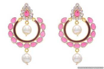 AD OVAL STONE STUDDED CHAAND BAALI EARRINGS/HANGINGS (RED)  - PCFE3149