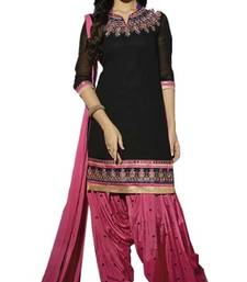 Buy Black embroidered georgette unstitched salwar with dupatta eid-special-salwar-kameez online