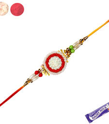 Buy Zardosi rakhi with white and red pearl rakhi-gift-hamper online
