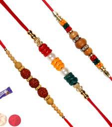 Buy Set of 03 multicolor beads & sandalwood rakhis sandalwood-rakhi online