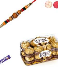 Buy Ferrero rocher chocolate with sandalwood rakhi sandalwood-rakhi online