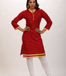 Buy Maroon cotton plain stitched kurti cotton-kurti online