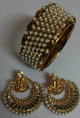Designer Ram Leela earings with Traditional Moti Kada